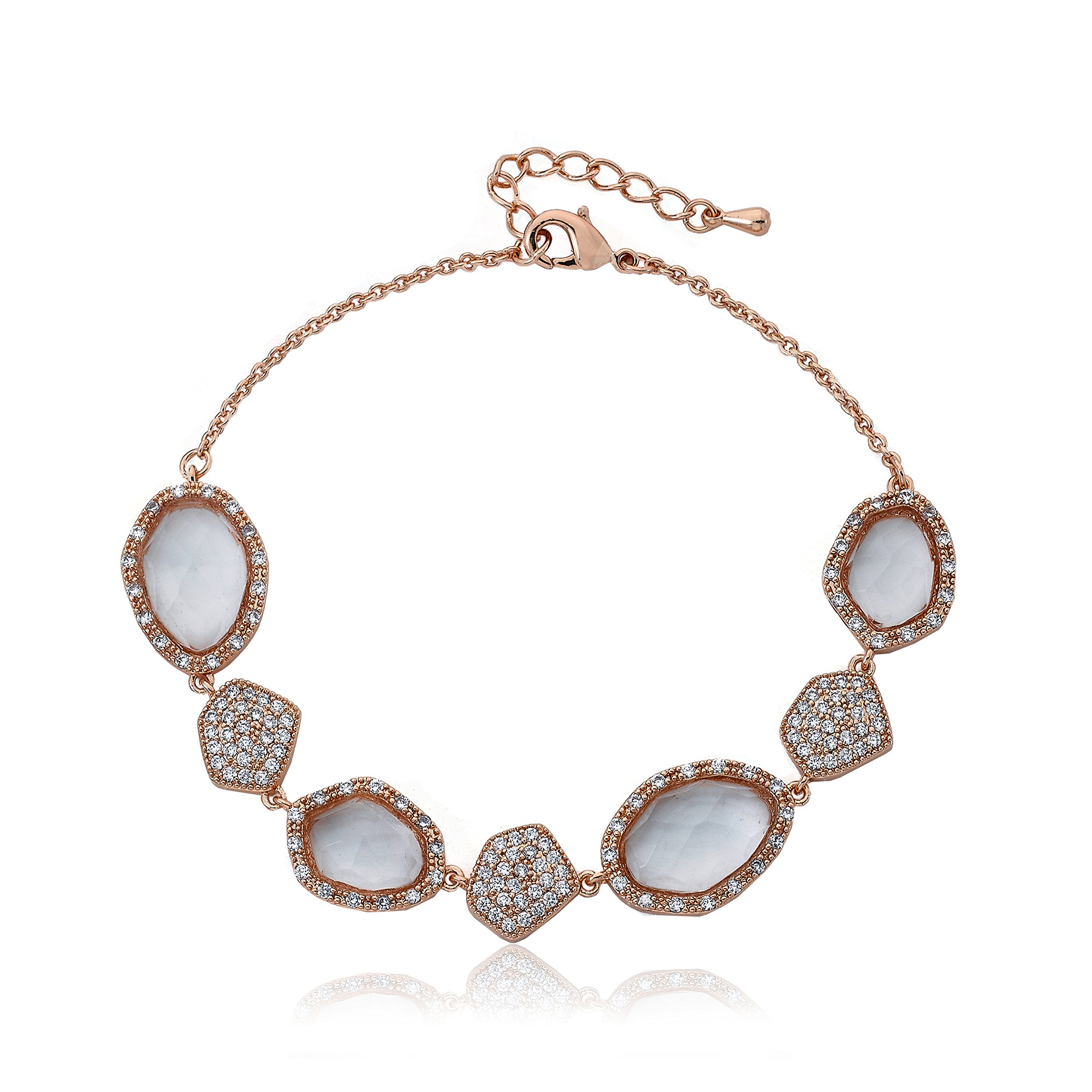 Riccova City Lights Rose Gold-Plated CZ & Faceted Glass Chain Bracelet/ 7''/1'' by Riccova