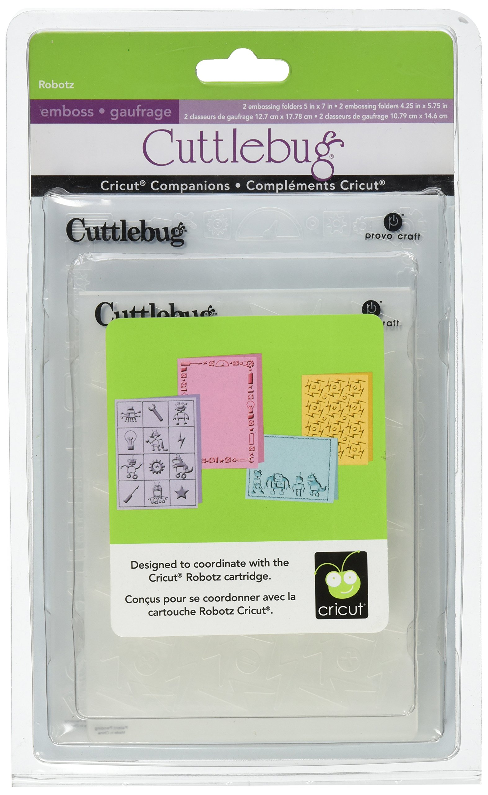 Cuttlebug Provo Craft Cricut Companion Embossing Folder Bundle, Robotz