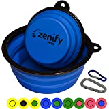 Zenify Dog Bowl Food & Water Feeder 2 Pack - Extra Large 1000ml 17.8cm & Small 400ml 12.7cm Collapsible Portable Foldable Travel Dish Leash Lead Slim Accessories for Puppy Dogs (Blue XL/Blue S)
