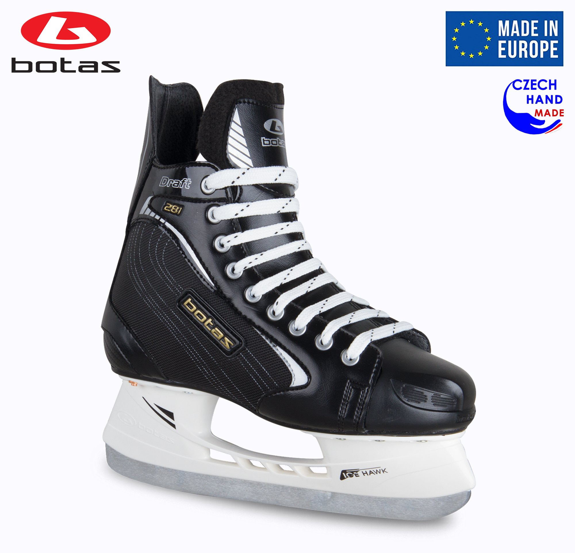 Botas - Draft 281 - Men's Ice Hockey Skates | Made in Europe (Czech Republic) | Color: Black, Size Adult 4