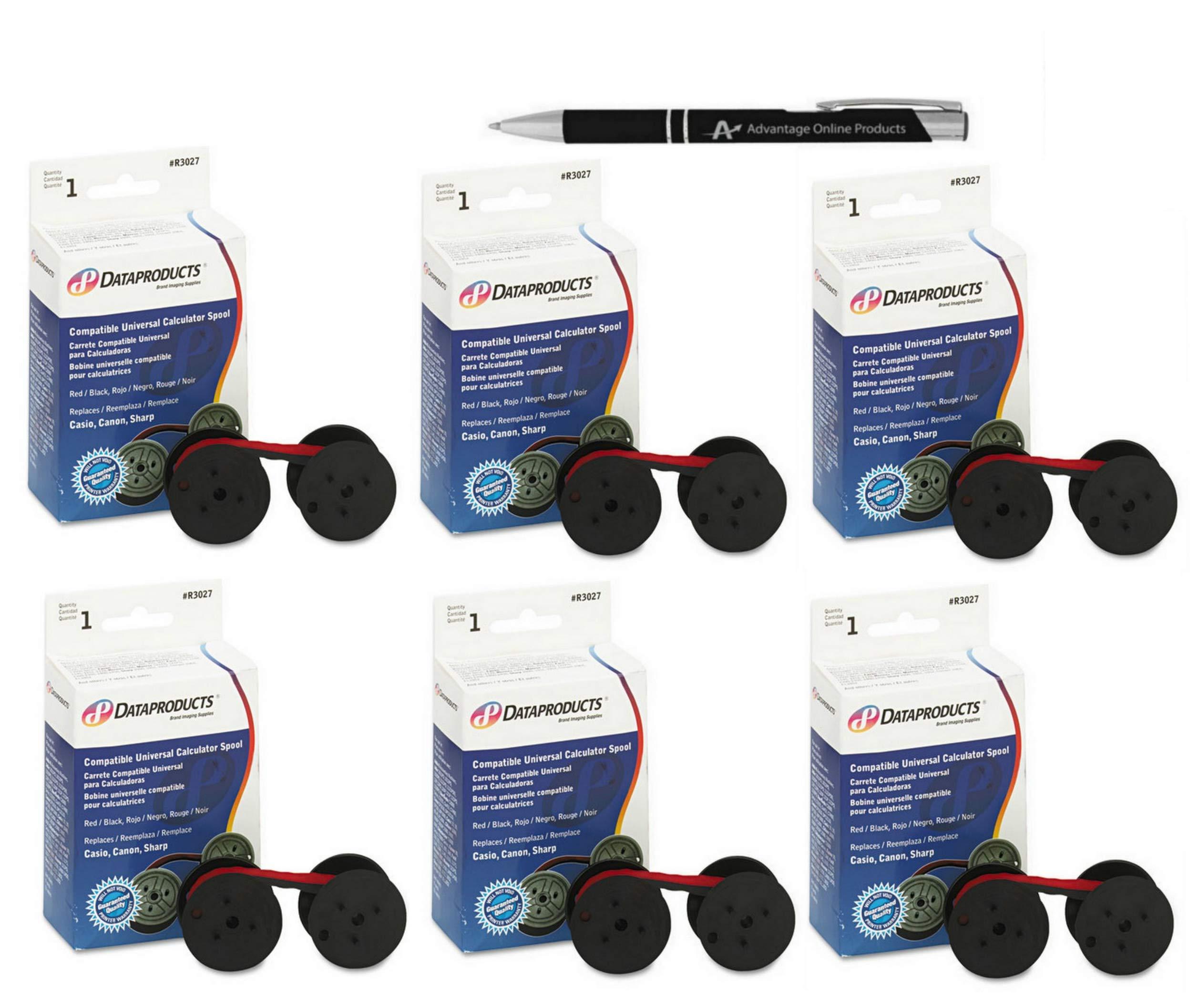 Value Bundle 6 Pack Dataproducts R3027 Two-Spool Universal Calculator Ribbon (C-Wind), Nylon includes bonus AdvantageOP Black and Chrome Retractable Pen