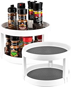 Homeries 2-Tier Lazy Susan Turntable - Tiered Rotating Kitchen Spice Organizer for Cabinets, Pantry, Bathroom, Refrigerator - Non-Skid Surface & Rimmed Edge (Pack of 2)