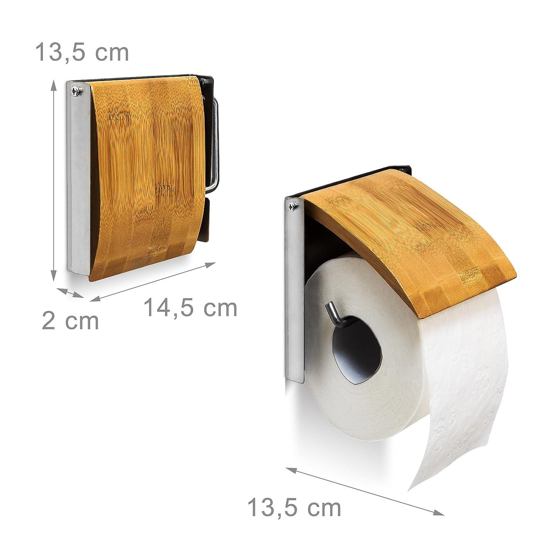 nature Relaxdays Porte-rouleau de papier hygi/énique en bambou et inox HxlxP 13,5 x 14,5 x 13,5 cm support mural salle de bain Toilette