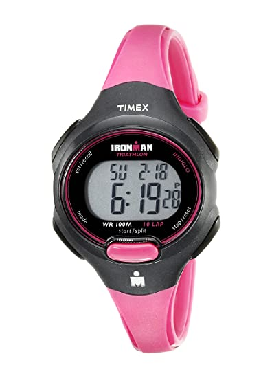 b5171c0ca84c Amazon.com  Timex Women s T5K525 Ironman Essential 10 Mid-Size Pink Black  Resin Strap Watch  Timex  Watches