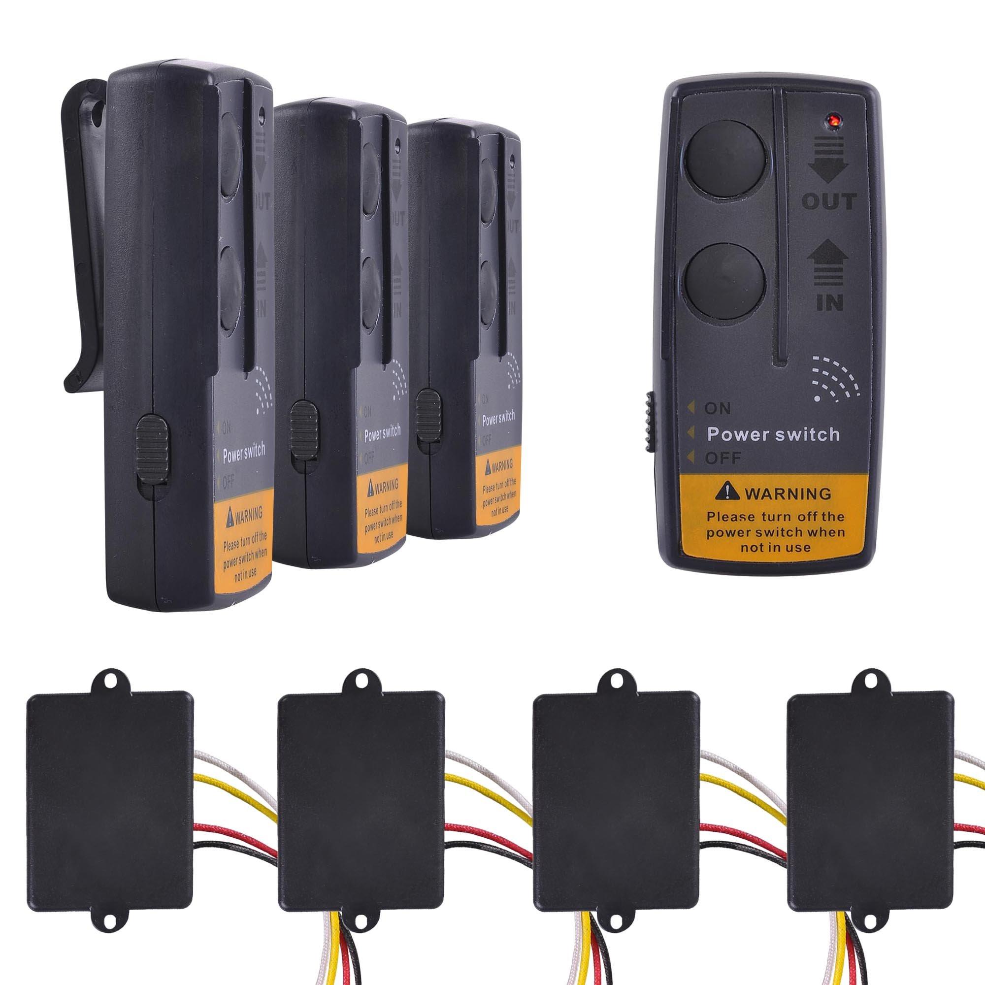 Yescom 65ft Wireless Winch Remote Control Kit for Jeep ATV SUV UTV 12V Switch Handset, 4 Pack by Yescom