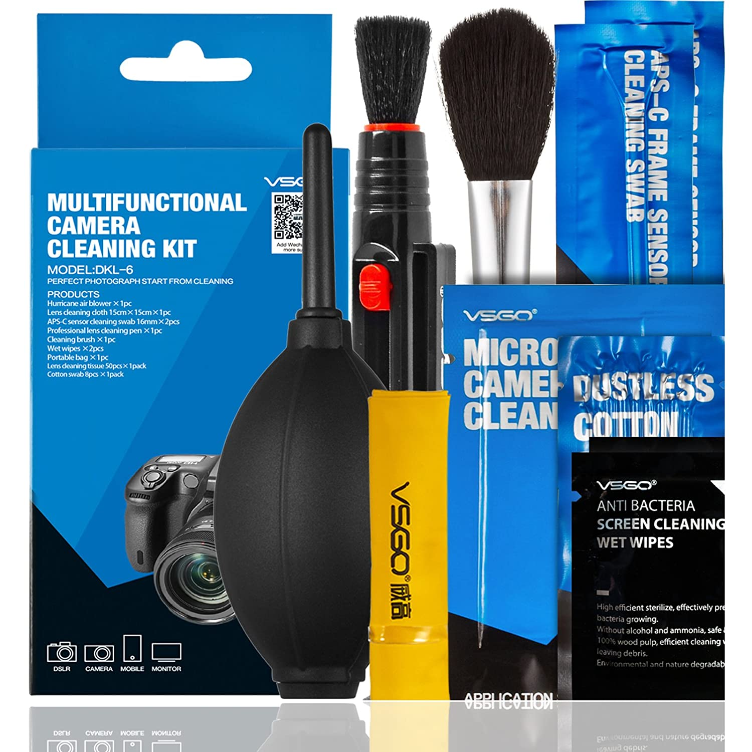 VSGO DSLR or SLR Digital Camera Cleaning Kit (Kit contains Air Blower, Lens Cleaning Cloth, APS-C Sensor Cleaning Swab, Professional Lens Cleaning Pen, Cleaning Brush, Wet Wipes, Portable Bag, Lens Cleaning Tissue, Cotton Swabs), Blue/black (DKL-6)