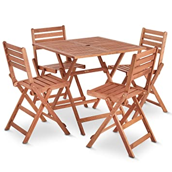 VonHaus Wooden Table and 4 Chair Set - Folding Garden & Patio ...