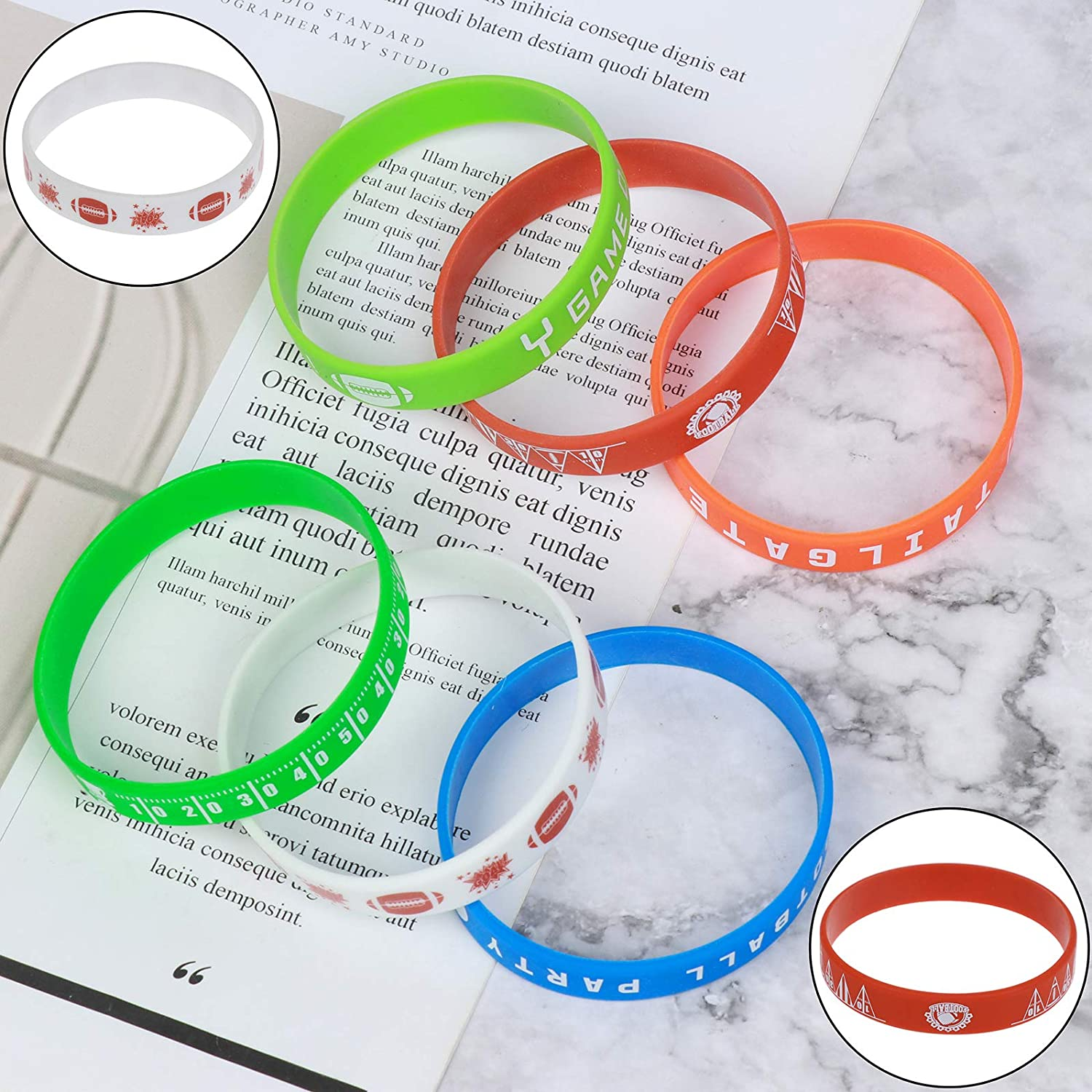 36Pcs Football Silicone Bracelet Motivational Rubber Wristbands Silicone Wristband for Sport Themed Football Themed Birthday Party Award Gift