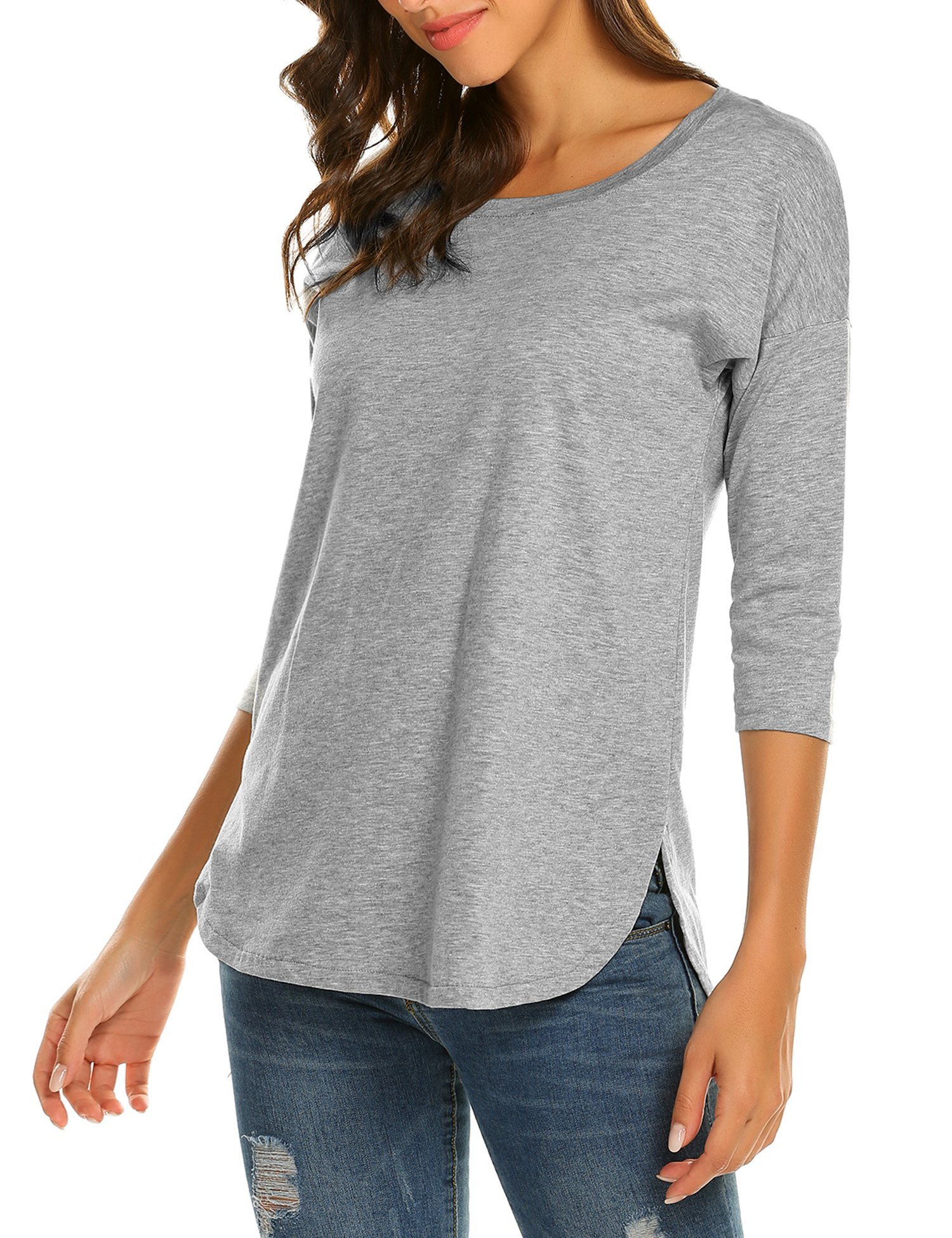 3/4 Sleeve Tunic Tops,Sherosa Women's Side Slit Shirt (M, Gray)