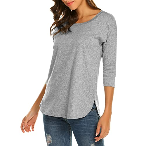 Sherosa Women s Casual 3 4 sleeve Loose Tunic Tops Scoop Neck T-Shirt 65846aabde1c