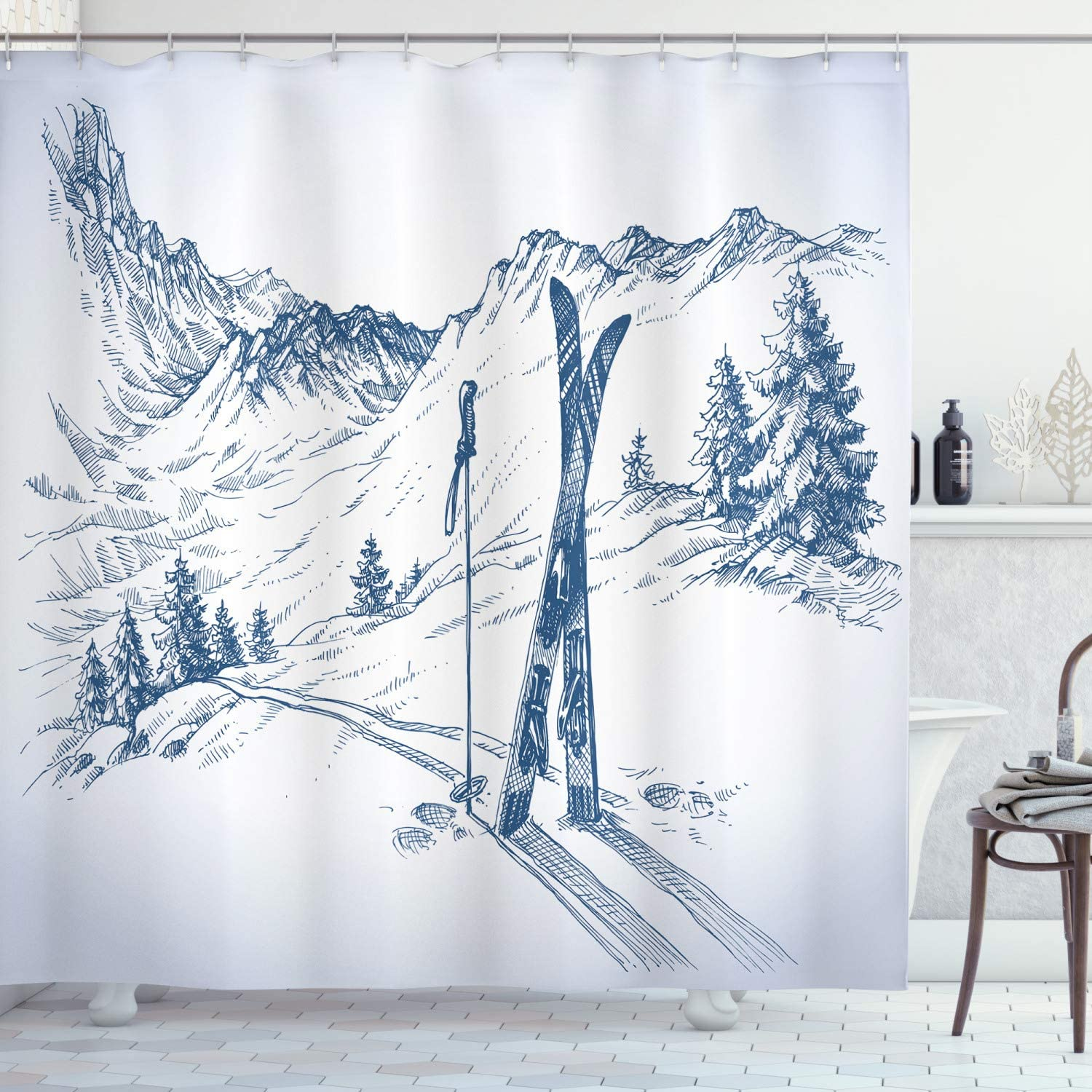 """Ambesonne Winter Shower Curtain, Sketchy Graphic of a Downhill with Ski Elements in Snow Relax Calm View, Cloth Fabric Bathroom Decor Set with Hooks, 70"""" Long, White Blue"""