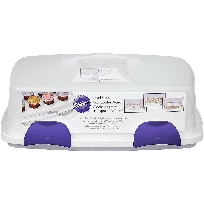 Wilton 2105-9958 Bandeja transportable con Tapa para Cupcakes, 3 en 1, Transparente, Violeta, Color Blanco, 44 75 x 36 x 17 cm: Amazon.es: Hogar