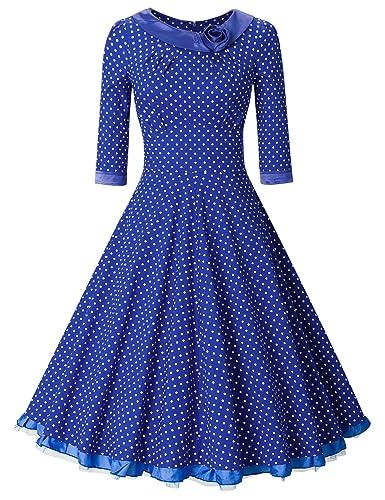 MUXXN Women's 1950s Rockabilly 3/4 Sleeve Swing Vintage Dress (M, Blue Dot)