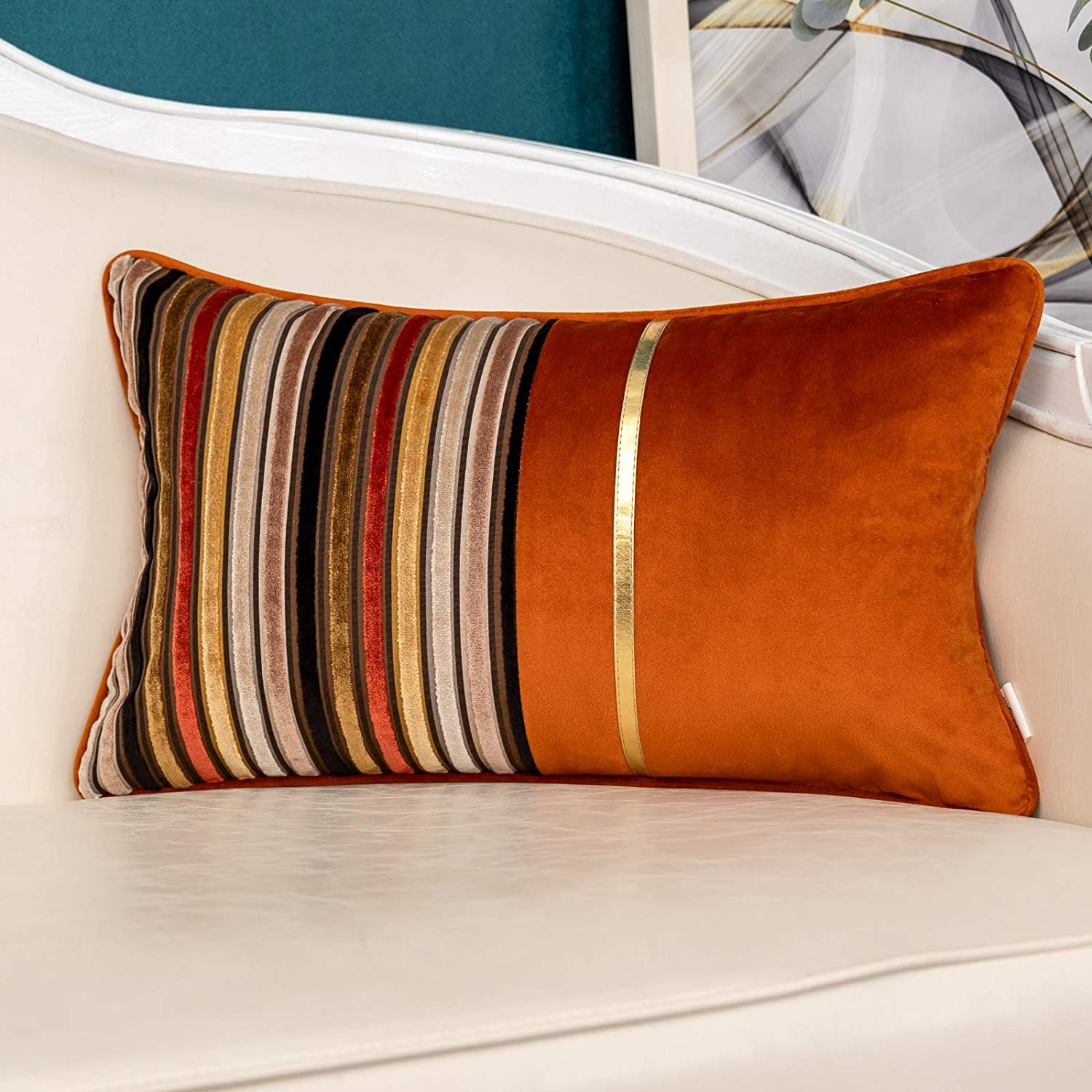 Yangest Burnt Orange Striped Patchwork Velvet Lumbar Throw Pillow Cover Gold Leather Cushion Case Modern Zippered Oblong Pillowcase for Sofa Couch Bedroom Living Room Home Decoration, 12x20 Inch