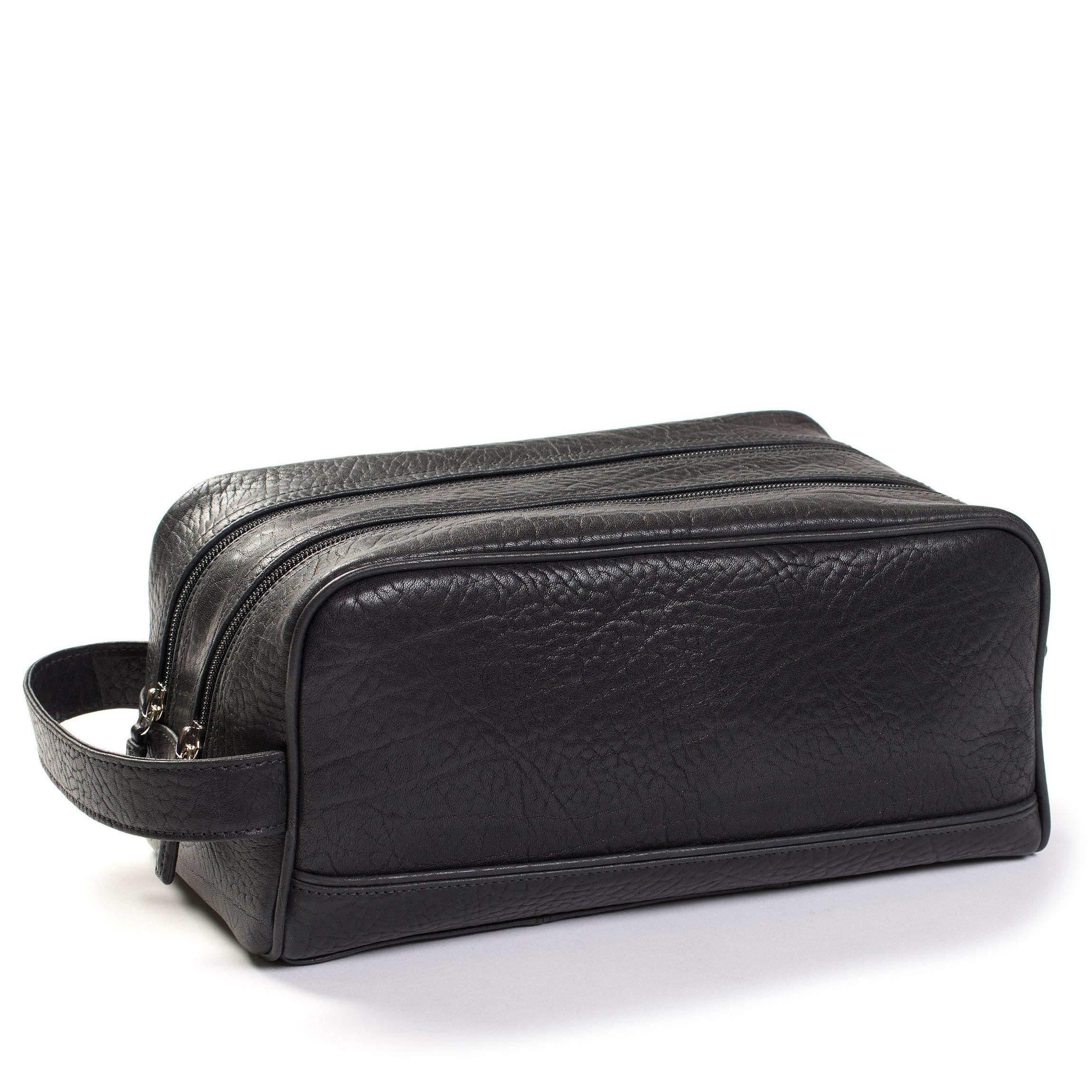 Leatherology Double Zip Toiletry Bag - Italian Leather - Ebony (black)