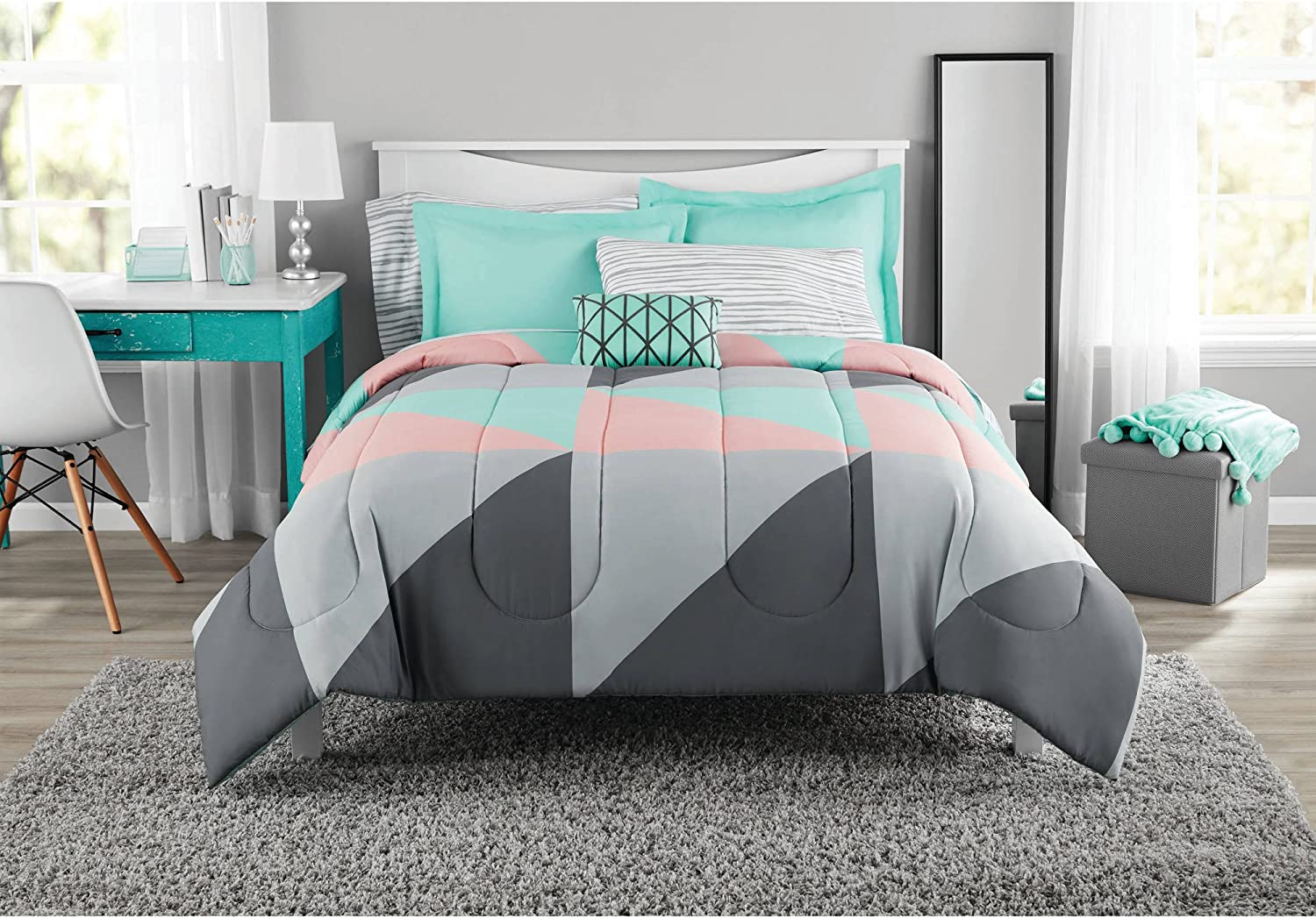 Amazon Com Fun And Bold Mainstays Gray And Teal Bed In A Bag