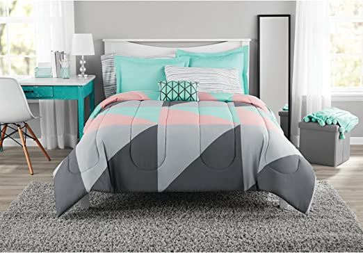 Amazon.com: Fun and Bold Mainstays Gray and Teal Bed in a Bag