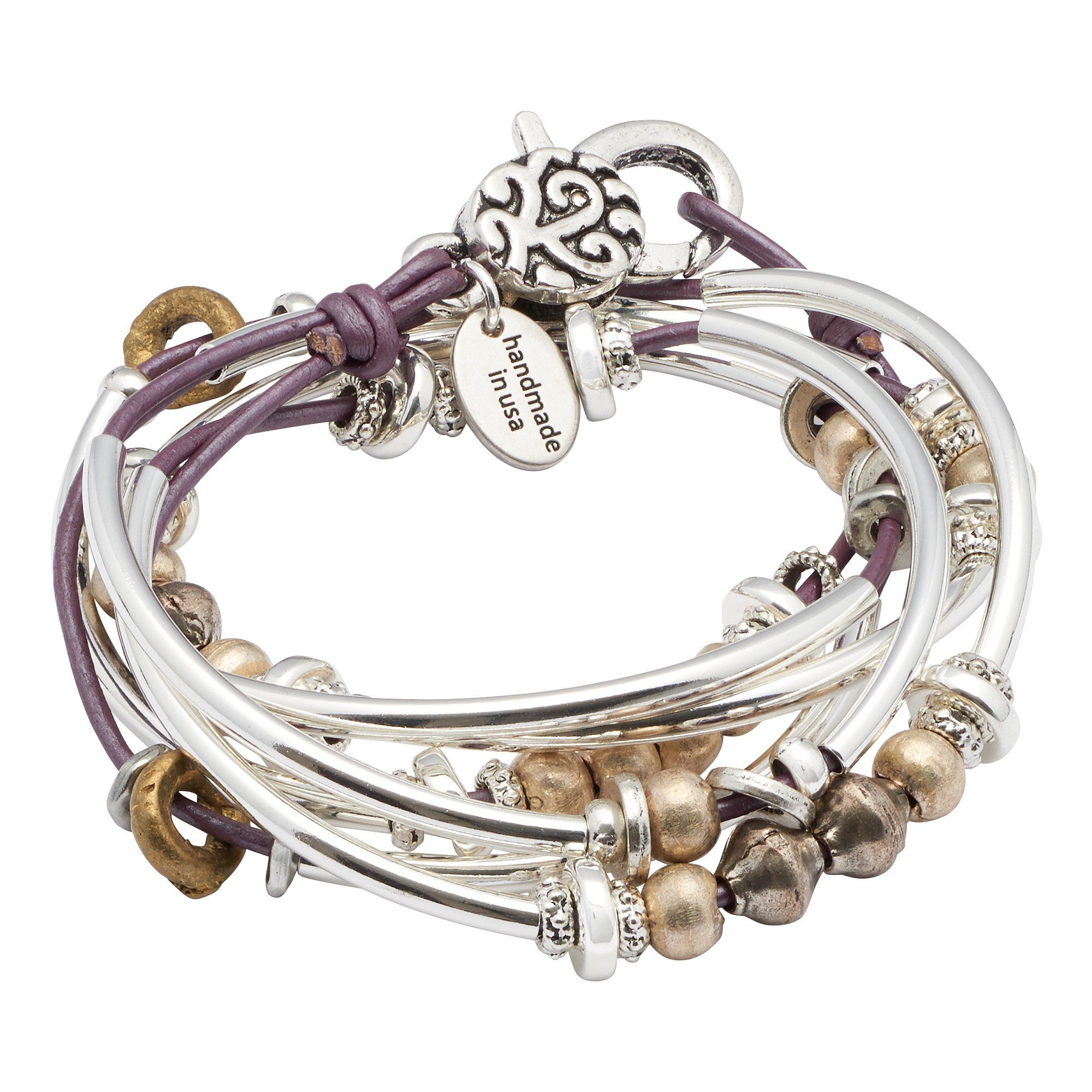 Bella Silverplate XLarge Bracelet Necklace with Metallic Berry Leather Wrap by Lizzy James