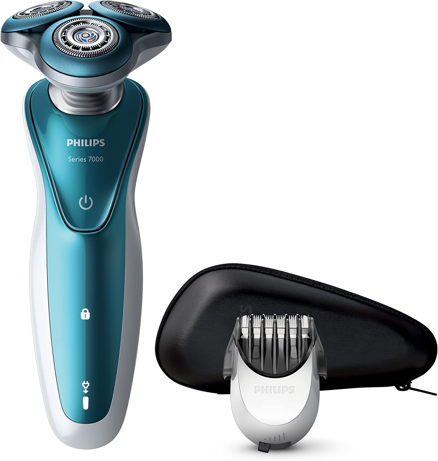 Philips S7370/41 - Afeitadora eléctrica, Uso en seco y húmedo, con Funda y perfilador de Barba SmartClick, Color Azul, battery-powered, 2015: Amazon.es: Electrónica