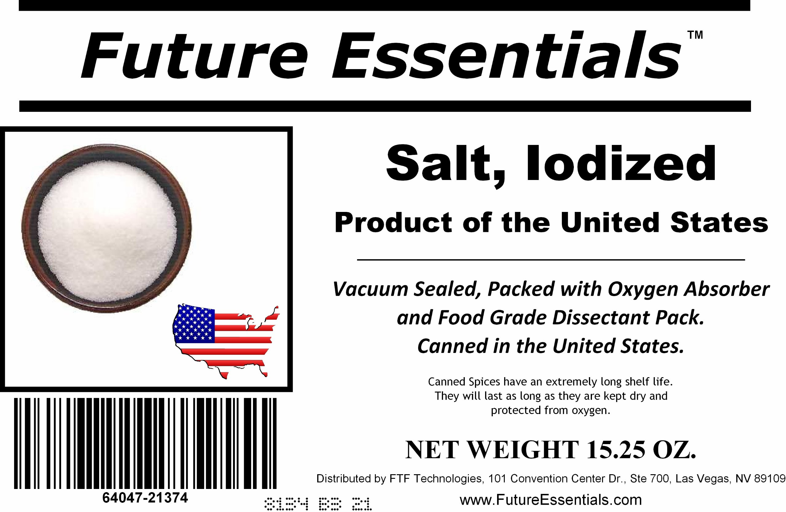 1 Case/12 Cans of Future Essentials Canned Iodized Salt 32 oz per can