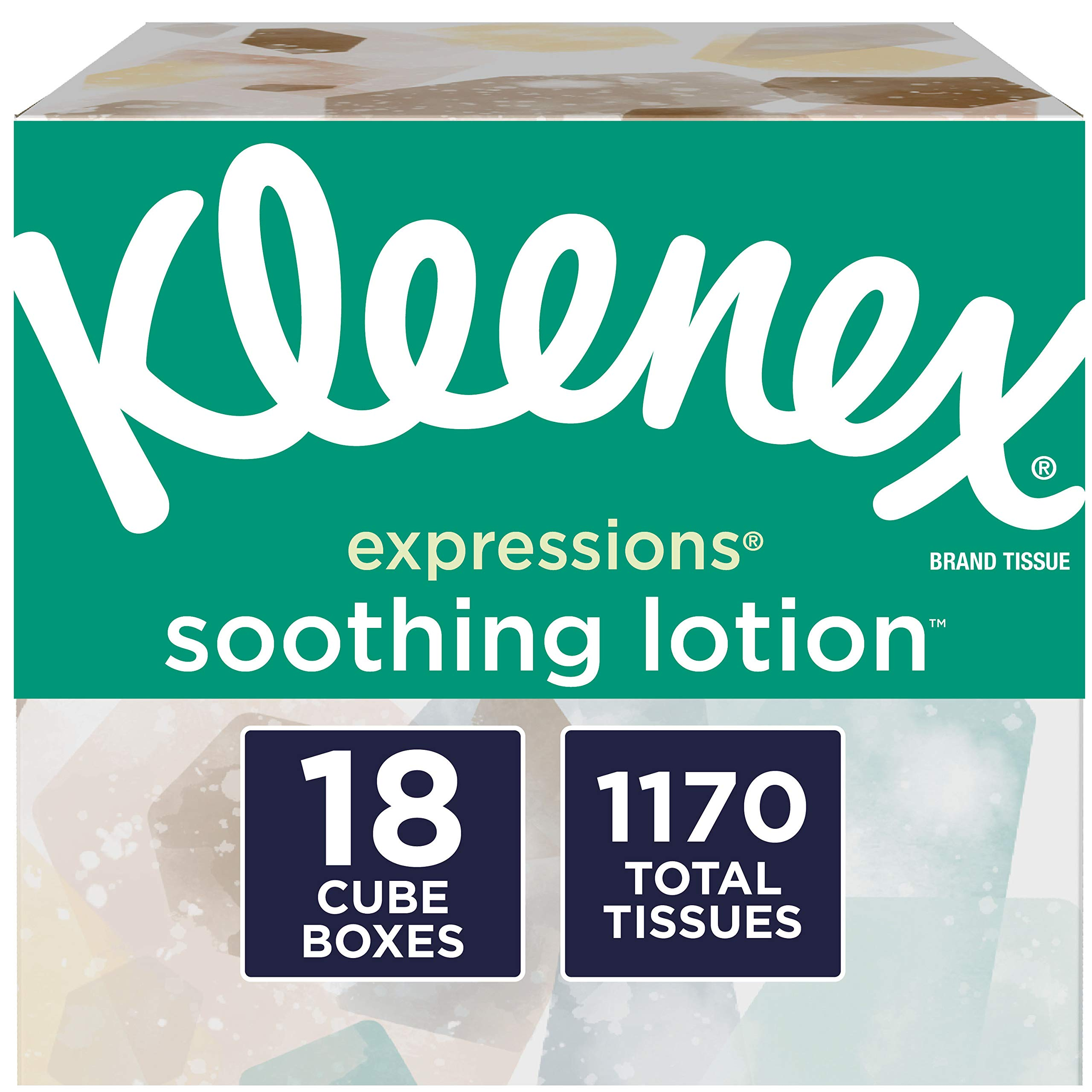 Kleenex Expressions Soothing Lotion Facial Tissues with Aloe & Vitamin E, 18 Cube Boxes, 65 Tissues per Box, (65 Count (Pack of 18)) (1,170 Tissues Total)