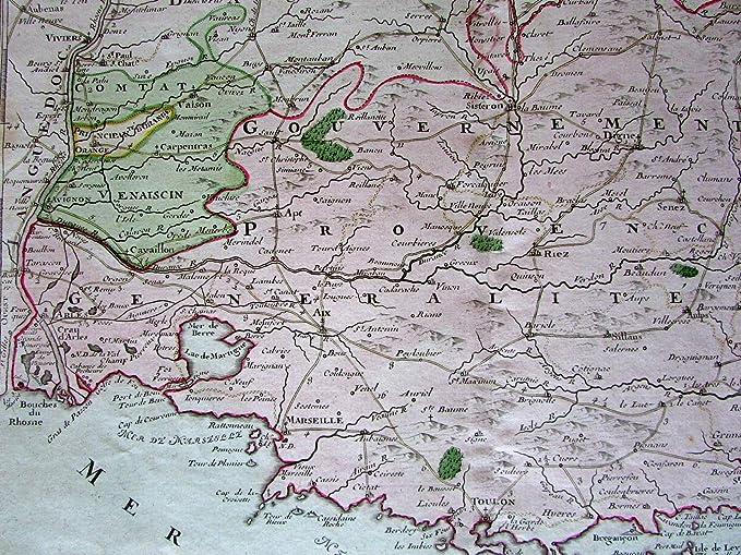Carpentras France Map.Amazon Com Provence France Aix Mediterranean Coast 1766 Brion