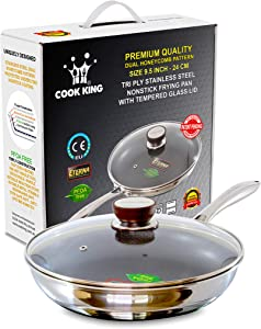 COOK KING 24cm/9.5inch Triply Stainless Steel Dual-Honeycomb Nonstick Skillet/Frying Pan with Glass Lid.