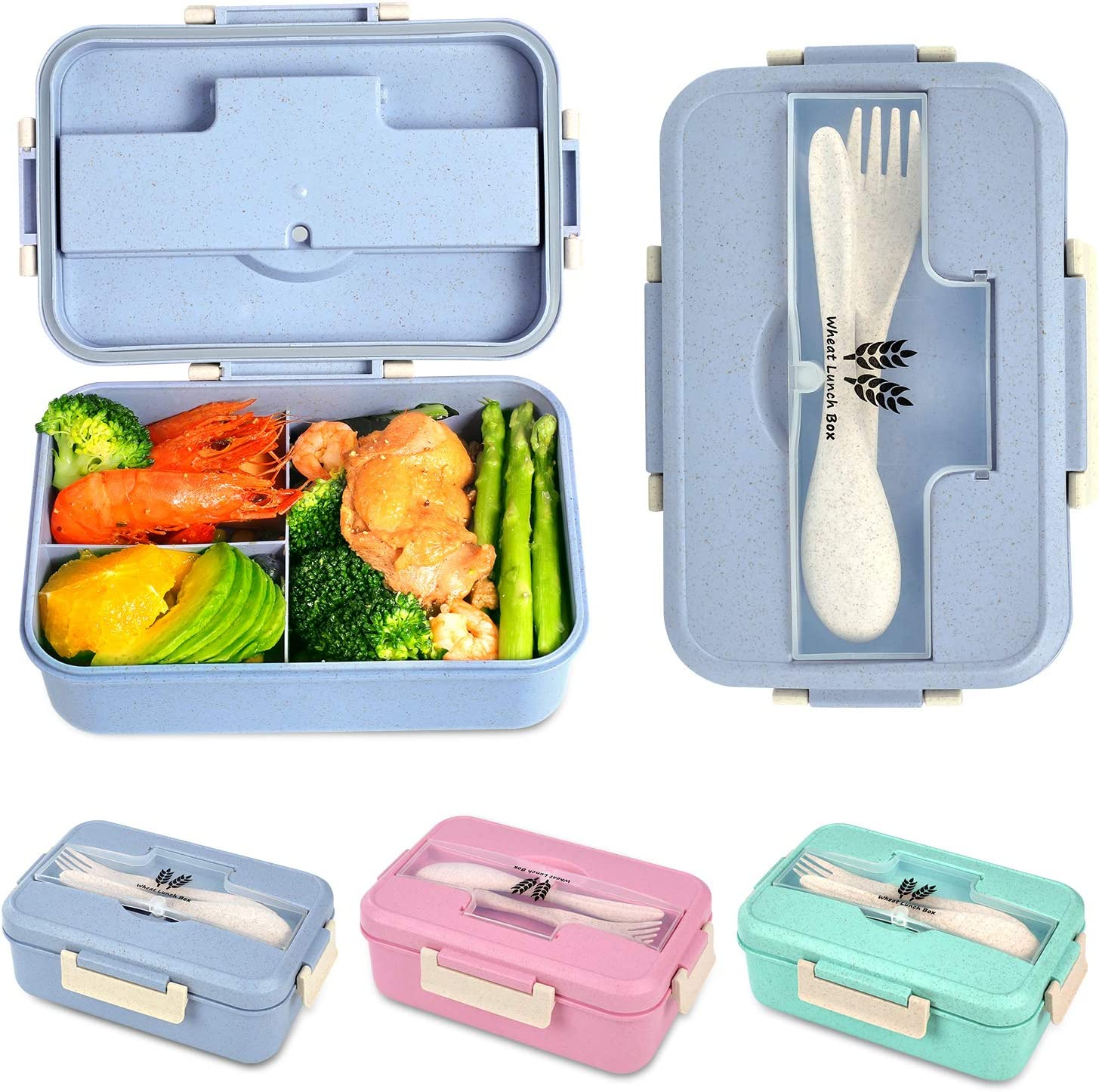 Bento Box For Kids and Adults With 3 Compartment,Wheat Fiber Leak Proof Lunch Box Food Containers With Spoon & Fork(1200ML) (Blue)