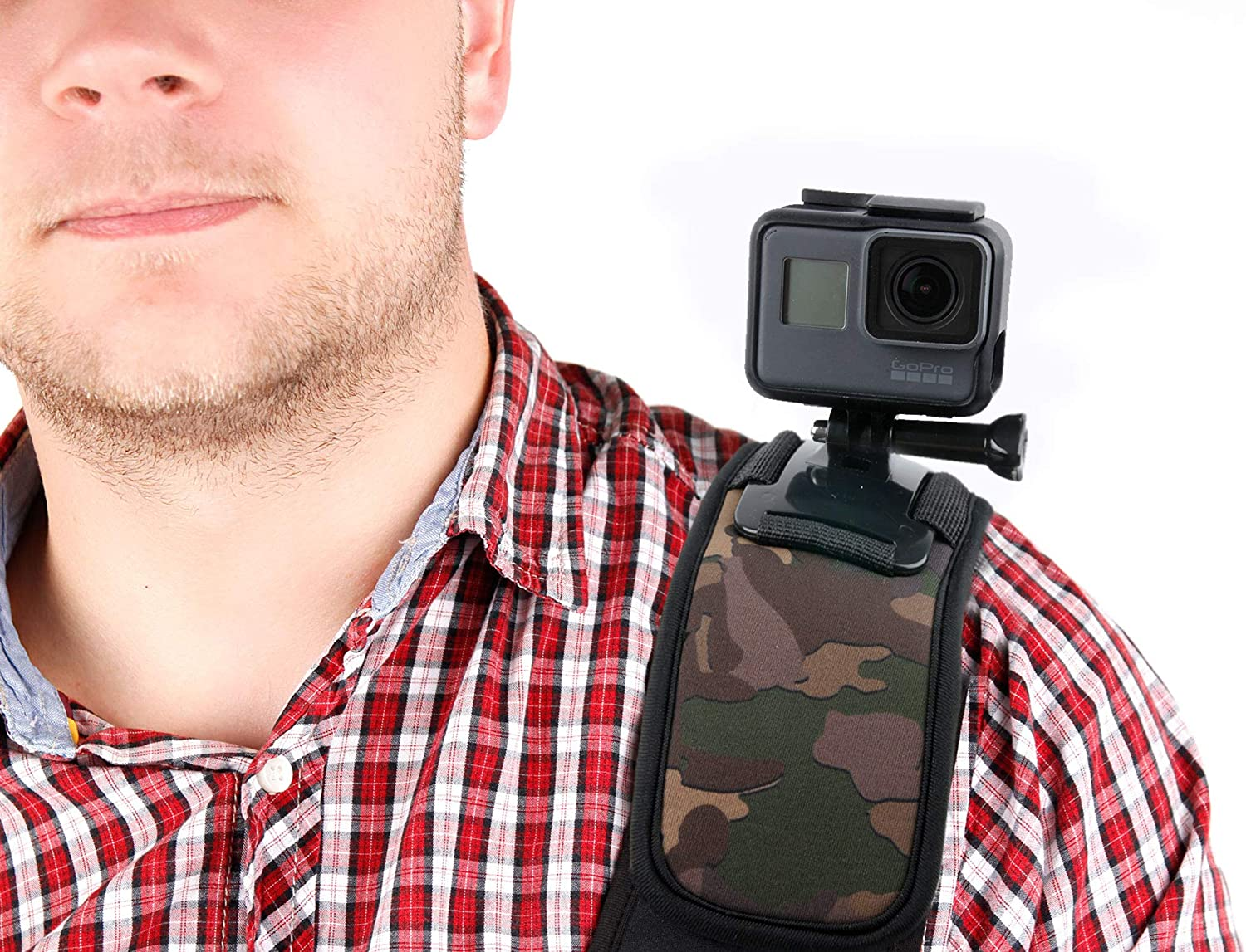 with Bonus Screw Thread Adapter! DURAGADGET Camouflage Detail Shoulder Mount//Harness in Black Neoprene Suitable for Olympus TG-3|TG-850|SH-2|TG-860|Pen E-PL7|SH-60|OM-D E-M10 /& Stylus Tough TG-4