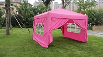 MCombo EZ Pop Up Wedding Party Tent Folding Gazebo C&ing Canopy with Sides 10u0027 : pink 10x10 canopy tent - memphite.com