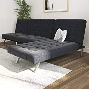 DHP Emily Sectional Futon Sofa with Convertible Chaise Lounger