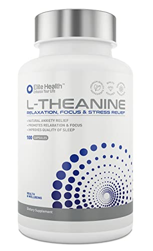 Premium Grade L-Theanine 250mg Super Strength Capsules by Elite Health - UK Manufactured & Lab Tested - Gluten Free - Easy Swallow L Theanine Tablets