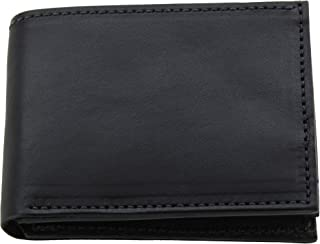 product image for Premium Full Grain Bridle Leather Men's Bifold Wallet With Flip Up ID Window – Black - Made in USA
