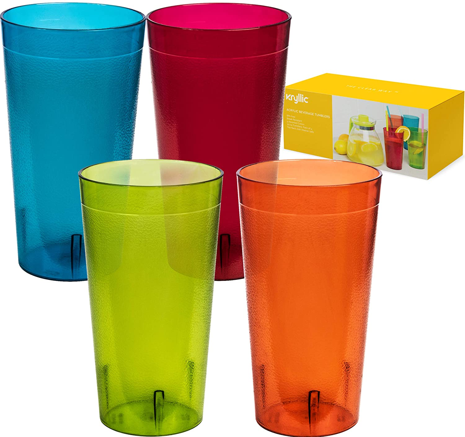f51d38ddf17 Reusable Plastic Cup Drinkware Tumblers - 4 Assorted Colors Break Resistant 20  oz Dishwasher Safe Drinking Stacking Water Glasses Cups!