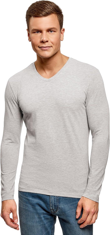 oodji Ultra Donna T-Shirt in Cotone con Scollo a V