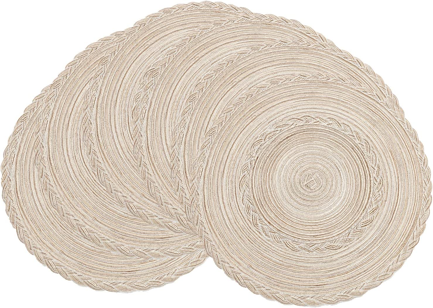 SHACOS Round Placemats Set of 6 Braided Placemats Bordered for Dining Tables Wedding Holiday Party (Ivory Bordered, 6)