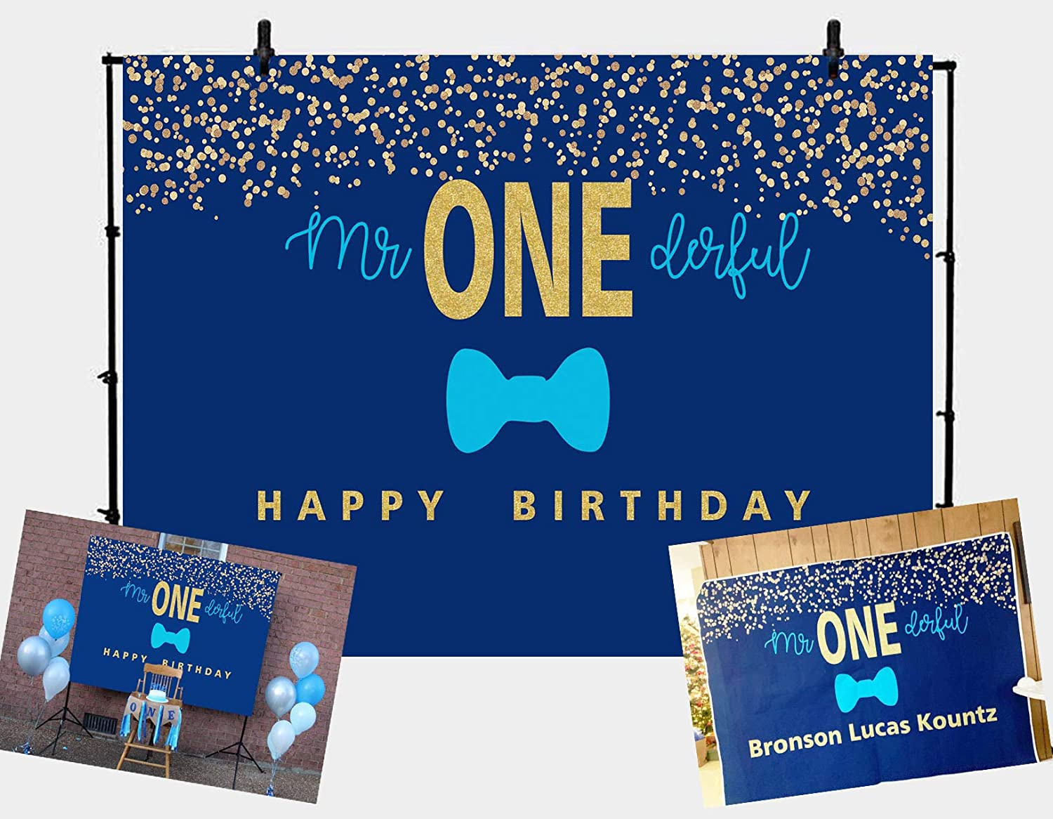 GYA 7x5FT Boys 1st Birthday Mr. Onederful Backdrop Blue Bow Tie Theme Blue and Gold Boy Toddler Little Man First Birthday Photoshoot Banner