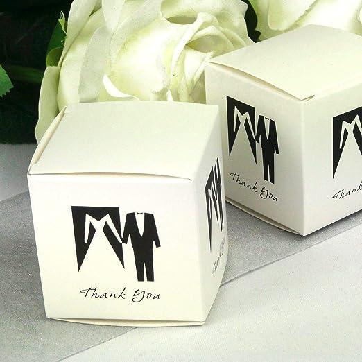 Einssein 12x Caja de Regalo Boda Blanco y Negro Cajas Bonitas para ...