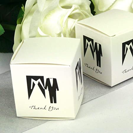 Einssein 12x Caja de Regalo Boda Blanco y Negro Cajas Bonitas para cajitas Regalos Bombones Carton bolsitas Papel chuches Bodas Bautizo pequeñas pequeña recordatorios comunion Navidad Decorar: Amazon.es: Hogar