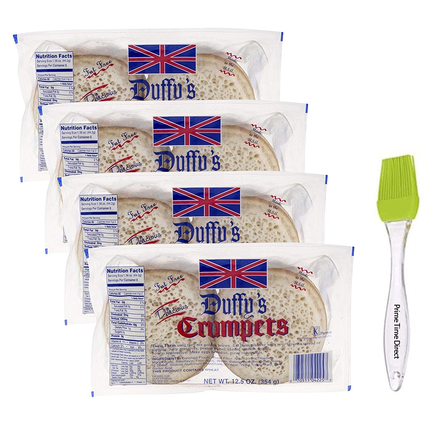 Duffy's Crumpets, 12.5 oz (Pack of 4) Bundled with PrimeTime Direct Silicone Basting Brush in a PTD Sealed Bag
