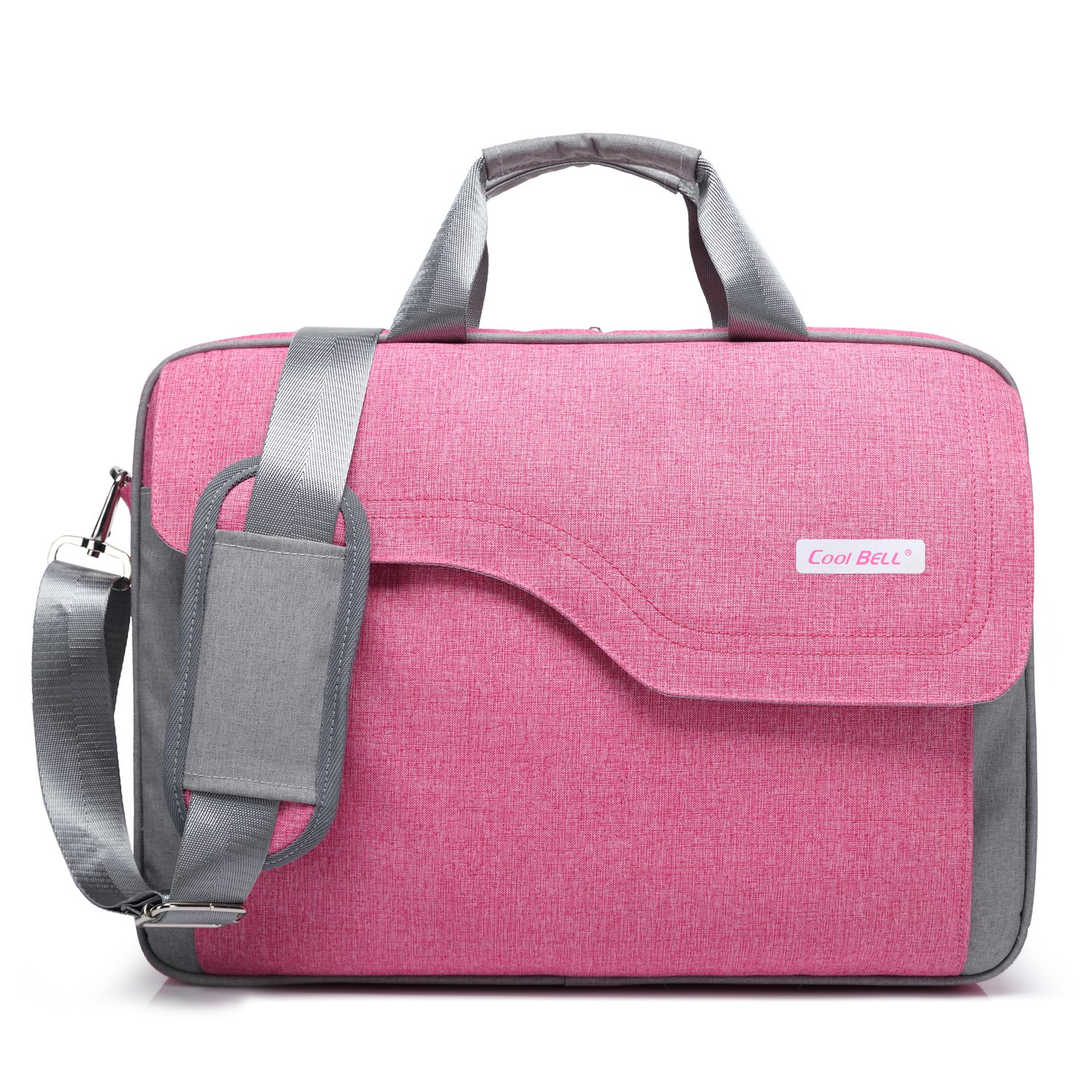 CoolBELL 15.6 Inch Nylon Laptop Bag Shoulder Bag Multicompartment Messenger Hand Bag Briefcase For iPad Pro/laptop/Macbook/Ultrabook/Men/Women/College (Pink)