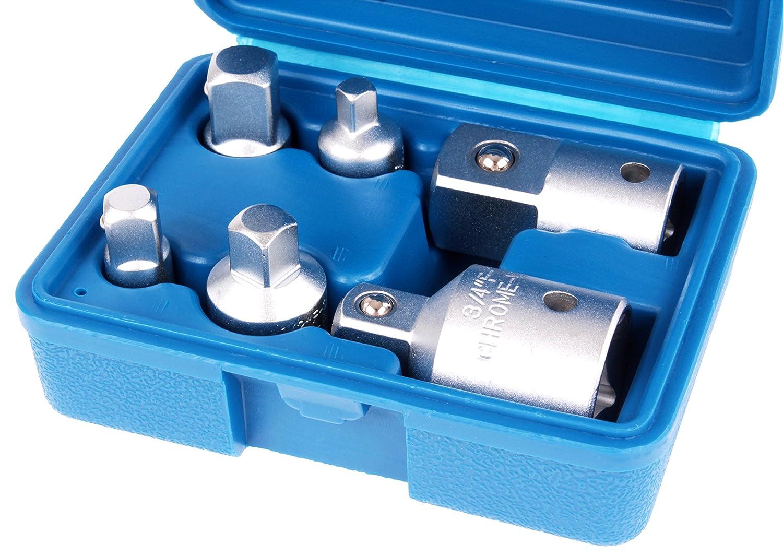 tecpo adaptador llaves de 6/piezas para frutos secos y carraca 1//4/3//8/1//2/3//4/pulgadas