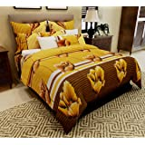 Home Candy 144 TC 100% Cotton Mustard Stripes and Flowers Double Bed Sheet with 2 Pillow Covers
