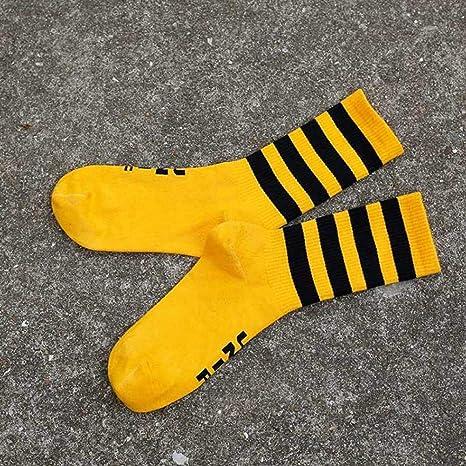 DYCZWZ Ocio Deporte Calcetines 2 Pares Calcetines Blancos De Hip-Hop para Hombres Calcetines Negros De Skate De Algod/ón para Parejas Callejeras De Hombres Frescos