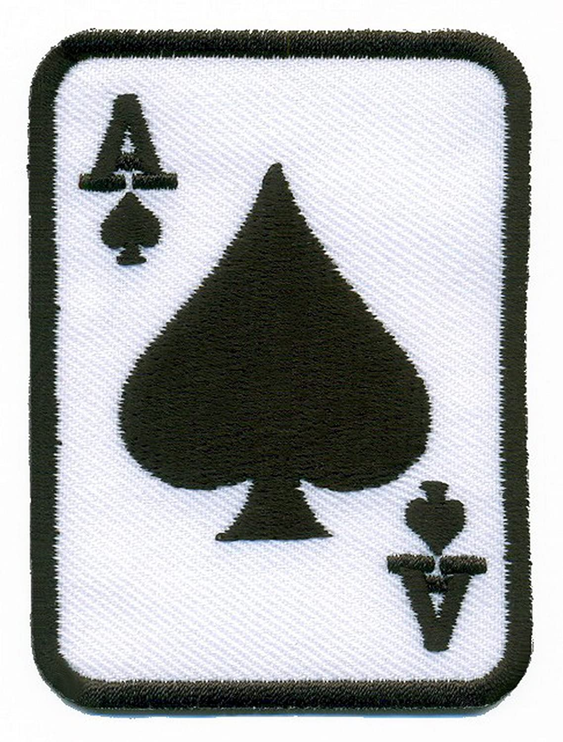Ace of Spades black suit playing card poker retro casino biker rat pack applique iron-on patch new by TKPatch   B00RFADS1G