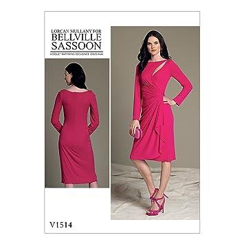 Vogue Mustern 1514 E5 Misses Kleid Schnittmuster, Tissue, mehrfarbig ...
