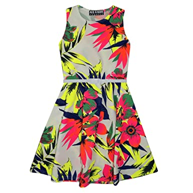 d3ebbdf8f7ab5 A2Z 4 Kids® Girls Skater Dress Kids Neon Tropical Print Summer Party  Dresses New Age 7 8 9 10 11 12 13 Years: Amazon.co.uk: Clothing