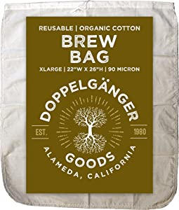 (XL 22in x 26in) Organic Cotton Brew In A Bag - Designed in California - Reusable Home Brewing Strainer Bag with EasyOpen Drawstring to Boil and Strain Hops, Apple Cider