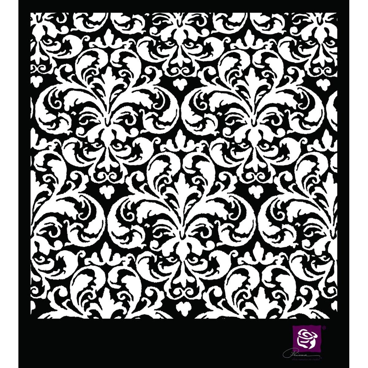 Prima Marketing-Stencil, in plastica, motivo: 6 cm x 6 cm, motivo floreale STEN6X6-64278