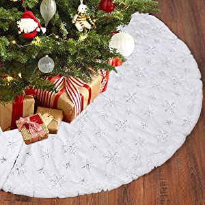 FengRise Christmas Tree Skirt Decorations - 48 Inches White Faux Fur Snowflake Tree Skirt Rustic Large Tree Xmas Ornaments for Christmas Party Holiday Home Decor Indoor Outdoor